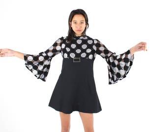 70s EDIE SEDGEWICK Biba Style Flare / Bell / Statement Sleeve Black & Silver Brocade + Buckle Metallic Mini Mod Party Dress