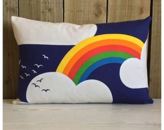 Vintage Retro Rainbow & Clouds 1970s Fabric Bolster Cushion Cover