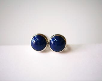 Lapis-lazuli and Polished Sterling Silver 6mm Stud Earrings
