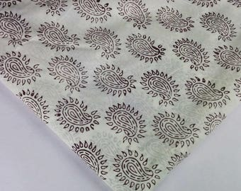 Maroon and White Cambric Cotton - Hand Block Printed Indian Cotton Fabric - Dress Fabric Maroon and White Printed Cotton Fabric by Yard