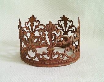 Ornate Handmade Salvaged Metal Crown w/ Rusty Finish