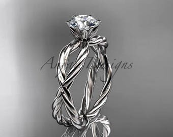 14kt white gold rope engagement ring RP870