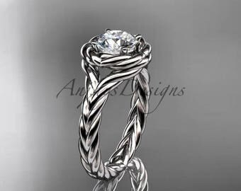 14kt white gold twisted rope engagement ring RP8201