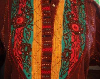 Vintage 1980s Brown Afghan Boho Chic with Turquoise Red and Yellow Upper Embroidery