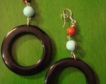 Handcrafted Round Black Earrings