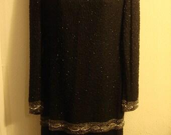 Vintage 1996 Black Boho Long Sleeve Dress In Sequin