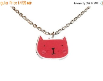 Red Cat Necklace Adorable Quirky Laser Cut Pendant Kawaii Kitsch Animal Jewelry Cute Kitten Face Kitty