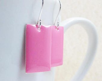 40% OFF Dangle Drop Earrings - Bubble Gum Pink Epoxy Enamel Rectangles - Sterling Silver Plated over Brass (F-7)
