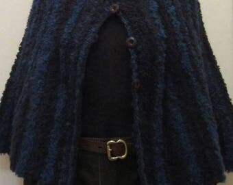 Cape9 poncho) hand knit in a wool blend  - size S/M