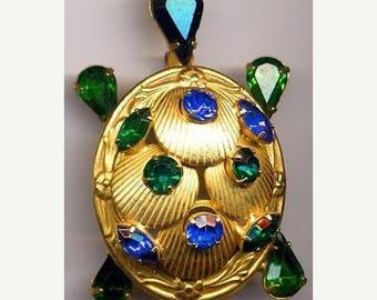 15% OFF SALE Vintage Turtle Brooch   Blue and Green Sets   Item: 12524
