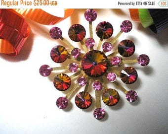 15% OFF SALE Vintage Red and Pink Rivoli Brooch   Unsigned   Item: 15828
