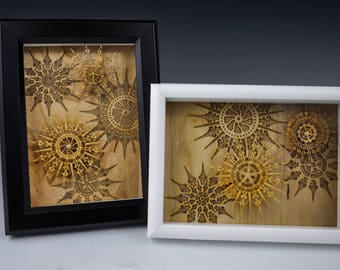 Winter Shadowboxes with laser-cut micro-veneer snowflakes. 4 available.