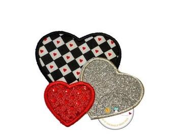 ON SALE NOW Valentine heart trio iron on applique, Glitter emboridered kids valentine iron on patch, red sequin iron on heart applique, hear