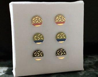 SALE / Porcelain medium dot stud earrings-choose a pair- 24k gold painted geometric post earrings, geometric studs, gift for her
