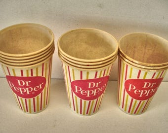 Vintage Dr Pepper Lot of 15 Wax Soda Cups Candy Stripes 1960 Dr. Pepper