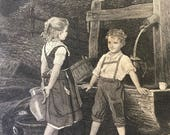 Early Victorian Engraved Print of Little Boy Charging Girl Toll for Water at the Well