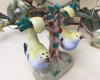 Adorable Vintage Birds on Tree Salt And Pepper Shakers Set