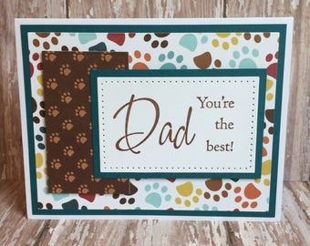 best dad card,happy father's day card,father's day paw print card,father's day paw print card,father's day pet card,cat card,dog card