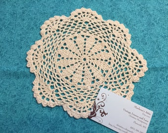 Doily, Vintage 8 inch Ivory Hand Crochet doily for housewares, home decor, pillows, christmas, holiday, bags by MarlenesAttic