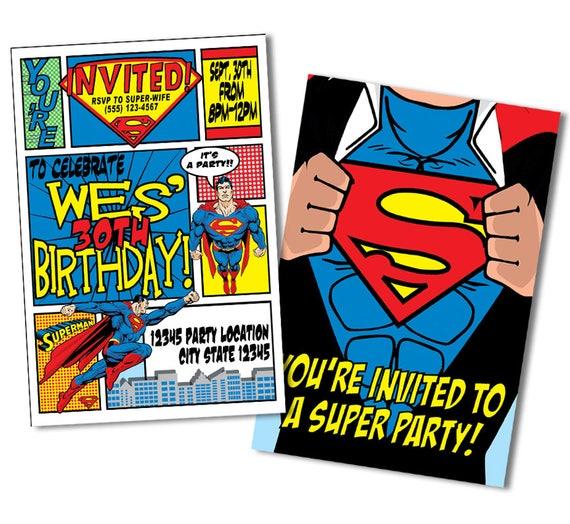 Superhero Invitation Superman Birthday Invitations Super Man