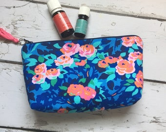 Ready to ship,New Essential Oil bag, travel Amy Butler floral holds 12-14