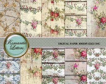 Sale 60% Digital Scrapbook Paper pack Shabby Chic rose background rose flower digital printable shabby decoupage paper distressed wallpaper