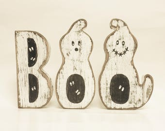 Boo Block Letters Ghosts - Made To Order, Primitive Ghosts, Halloween Decor