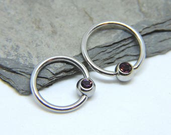 """Nipple Rings SET of 2 - Amethyst Inlaid Crystal Captive Ring - Violet - Purple - CBR 16 or 14 Gauge 3/8"""" 7/16"""" 1/2"""" 5/8"""" - For Any Piercing"""