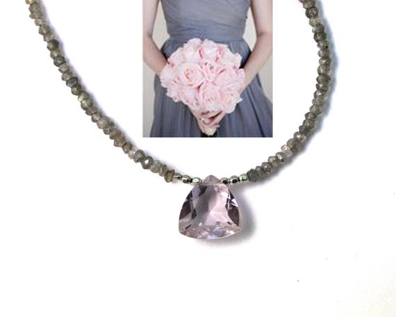 Bridesmaid Gifts. Wedding Color Matching Service. Morganite Quartz Necklace. Labradorite Necklace.  Beaded Necklace.