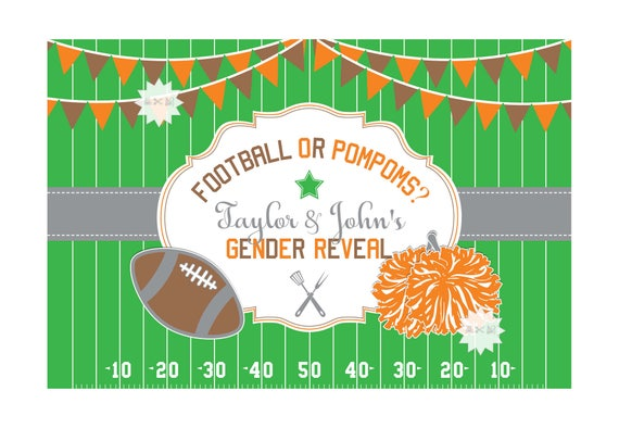 football gender reveal party backdrop football baby shower banner