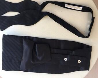 Vintage black silk textured cummerbund bow tie set by Carrots and Gibbs