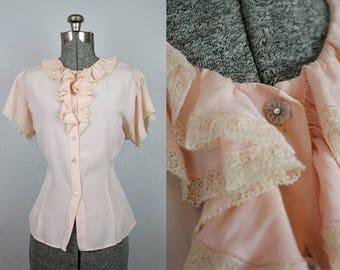 1940's Pale Pink Rayon Ruffle Blouse / Size Large