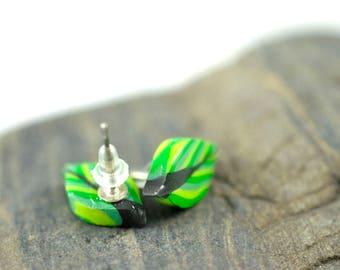 Geometric Leaf High Gloss Stud Earrings