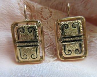 Antique 10K Pierced Earrings Black Enameled Accents - Victorian Pierced Earring - Victorian Fashion - Antique Enameled Jewelry - Luxury Gift