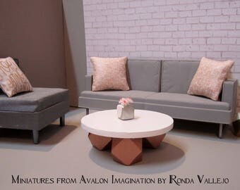 1:6 scale Coffee Table Barbie furniture ~ Solid wood hand built white with metallic rose gold hedron base. Hollywood Regency Modern
