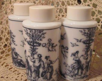 Lot of 3 Vintage Blue Toile Milk Glass Vanity Bottles/Jars