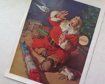 Santa Claus Coca Cola 1962 Advertisement Christmas Toy Scene Train Helicopter Christmas Tree Retro Coke Ad Original Magazine Page