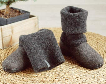 Boiled wool shoes from organic wool with rubber soles and knitted uppers in dark gray