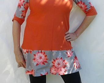 Womens dress, women's tunics, orange tunic, floral print, cotton knit, all weather, travel wear, curve friendly, eco friendly, casual, comfy