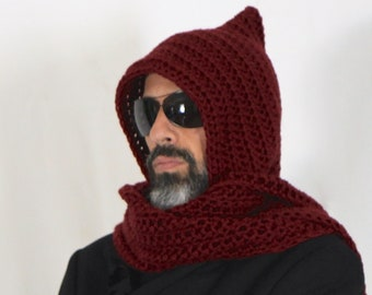 Mens long hooded scarf, burgundy hooded scarf, open ends hooded scarf, mens scoodie, Calypso Long