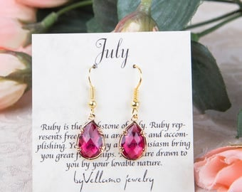 July Red Ruby birthstone, Gold Teardrop Earrings Red Ruby Drop Gold Earrings July Birthstone Jewelry Bridesmaid Gold Earrings