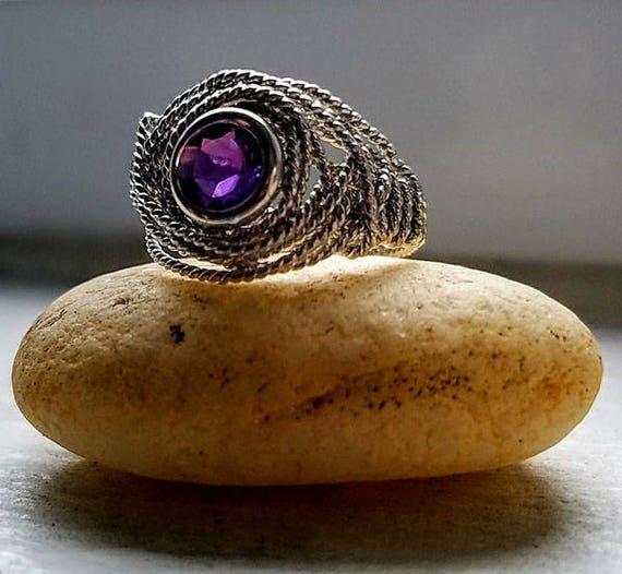 Natural Amethyst Gemstone Argentium Silver Twist Wire Ring Size 5.5