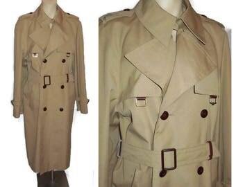 Vintage Women's Trench Coat 1970s Etienne Aigner Long Tan Beige Trenchcoat Light Coat Overcoat Signature Designer Coat M chest to 40 in