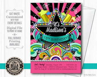 Diamond Sparkle Star Customized Printable Invitation