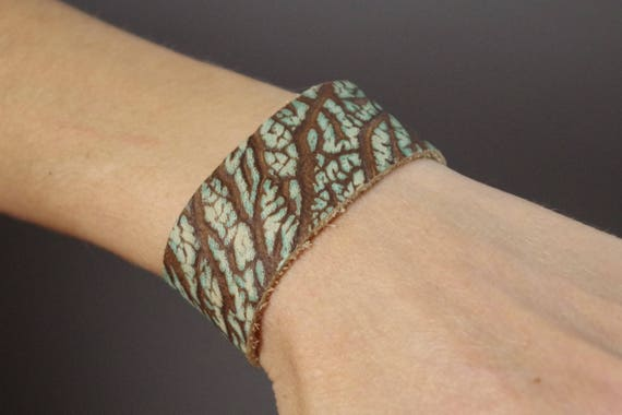 Turquoise Leather Cuff Bracelet - Leather Cuff Bracelet - Leather Cuff - Leather Accessories - Handmade Leather Cuff