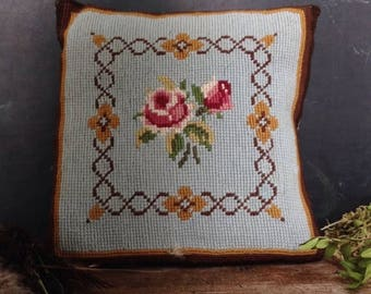 ON SALE Danish Vintage Handmade Embroidery Pillow