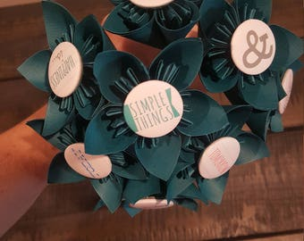 Teal Blue Bouquet of 8 flowers with Inspirational / Decorative Embellishments with Green Wire Stems, One of Kind and Ready to Ship