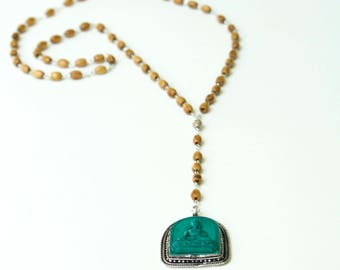 Olive Turquoise Buddha Rosary