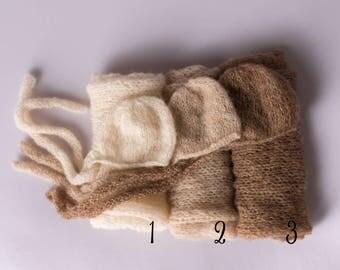 Fiadh Alpaca Newborn Bonnet Hat and Wrap in Cream, Newborn blanket and bonnet, Knits wrap, Knits bonnet, Newborn Stretch Wrap, Newborn Prop