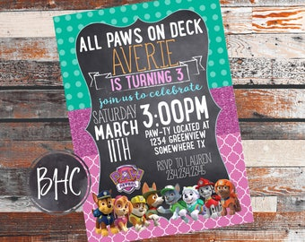 Paw Patrol Invitation. Paw Patrol Party. Birthday Party Invitation. Paw Patrol Birthday. Girl Paw Patrol Invitation. Girl Paw Patrol. Girl.